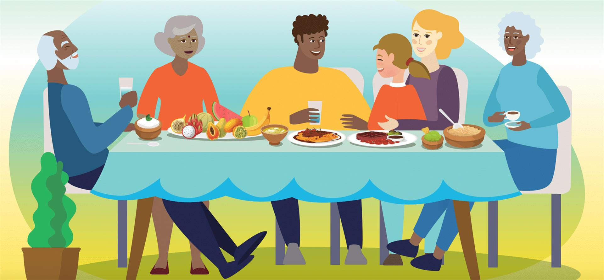 Graphic of a group of people eating food at a table
